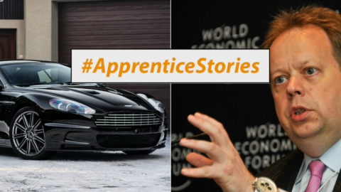 Aston Martin, Andy Palmer and Apprentice Stories graphic